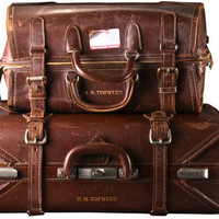 Vintage Leather Luggage Pair Black Friday Sale