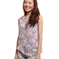 Satiny Bouquet Blouse  Purple