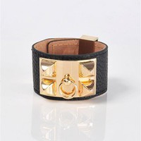 Hermez Double Spike Cuff - Black at Necessary Clothing