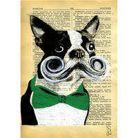 Dog Art Illustration - Original Artwork on Vintage Dictionary Paper - Bulldog Marcello with Mustache