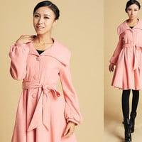 Pink wool shawl collar coat (381)