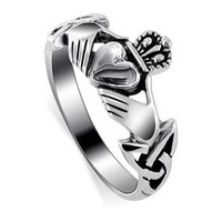 LWRS145-7 Polished 925 Sterling Silver Irish Claddagh Friendship and Love Polish Finish Band Ring Size 7