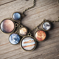Statement necklace - Solar System necklace - Space jewelry (BN022)