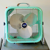 1950&#x27;s Aqua Country Aire Metal Box Fan with 2 Speeds and Tilting Feature