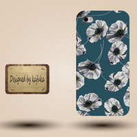Iphone case, Iphone 4 case, Iphone 4s case, Iphone 5 case, unique handmade hard Plastic case, blue floral   ,p 199
