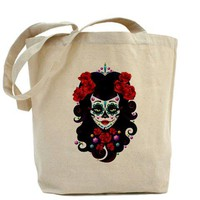 Day of the Dead Sugar Skull Tote Bag by Somethingagogo- 543764821
