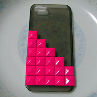 Studded iPhone 5 case.translucence black case with deep pink studs .Christmas gift