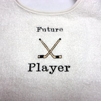 Baby Toddler Bib Future Hockey Player Embroidered 2 Snap Terry Cloth