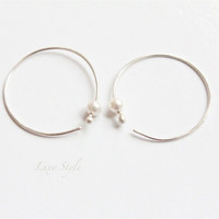 Hoop Ear Rings Pearl Sterling silver Swarovski white Metal hammered Jewelry Contemporary eco-friendly handmade Luxe Style