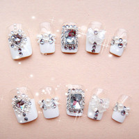 Handmade Nails-Queen of Hearts Japanese Kawaii Heart Himegyaru Bow Deco Bling Nails Art Set for Princess.the white art.