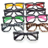 Retro 8-bit Old School Novelty Nerd Geek Gamer Mosaic 2-Tone Pixel Glasses Frame