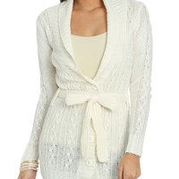 Belted Cable Cardigan | Shop Sweaters at Wet Seal