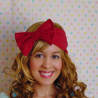 RED Bow Turban Headband Stretchy bow Bohemian bow Hippie Chic Style Bad hair days Emo Lolita Sexy Snow White Headband Adults Women Teens bow