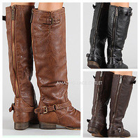 New Womens Knee High Riding Boots Zipper & Buckle Strap Fashion Tan Brown Black