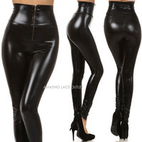 Black Liquid High Waist Zipper Leggings Wet Waisted Tight Shiny Vinyl Hot Pants