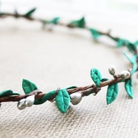 Emerald Leaves and Silver Winter Hair Wreath. Halo. Flower Hair Crown. Woodland, Wedding. Fall, Christmas, Boho, Holidays. Hair Accessories.