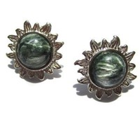 Amazon.com: Seraphinite &quot;Angel Gemstone&quot; Sterling Silver Green Sun Small Earrings: Ian and Valeri Co.: Jewelry