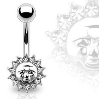 Amazon.com: Body Accentz Belly Button Ring Navel Cz Sun Jewelry 14 Gauge 3/8&quot; Ho679: Jewelry