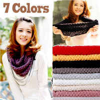 Knitted Hood Neck Circle Cowl Wool Scarf Shawl Wrap Loop Winter Warmer Lady