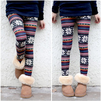 Womens Xmas Snowflake Reindeer Knitted Warm Pattern Leggings Tights winter Pants