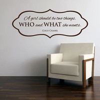 "Wall Vinyl Quote - Who & What She Wants - Coco Chanel Quote (36""x15.5"")"