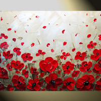 Original Abstract Textured Painting Red Poppy by ChristineKrainock