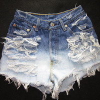 Vtg Levi's Destroyed Cut Off Denim Shorts Waist 24 Hips 36 Rise 10