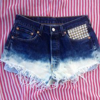 "STUDDED VINTAGE HIGH WAISTED LEVI 501 CUT OFF SHORTS 31"" 12"