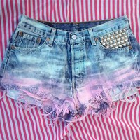 STUDDED VINTAGE HIGH WAISTED LEVI 501 CUT OFF SHORTS 29&quot; 10