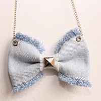 Jeans Bow Necklace