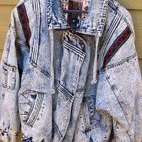 Vintage 80s 90s Center Aisle Acid Wash Tribal Southwest Jacket Size Medium