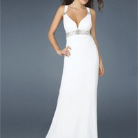 Empire Strap V-neck Open Back White Floor-length Prom Dress PD1493