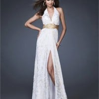 A-line Halter V-neck Side Slit Backless White/Gold Prom Dress PD1579