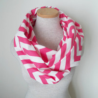 Hot Pink and White Chevron Infinity Skinny Scarf
