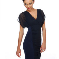 Sultry Navy Blue Dress - Chiffon Dress - Surplice Bodice Dress - $39.00