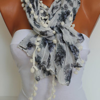 Grey Floral pompom Shawl Scarf Headband Necklace Cowl