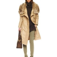 MICHAEL Michael Kors Long Faux-Fur Collar Coat - Michael Kors
