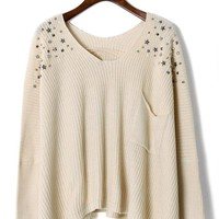 Knit Asymmetrical Sweater with Pearl & Stud Shoulder Detail