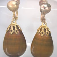 Vintage Brown Polished Teardrop Earrings, Screw Style, Gold tone