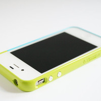 iPhone 4, 4S case - Color Block Bumper - Lime Sky