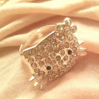 HELLO KITTY RHINESTONE GEMSTONE RING | eBay