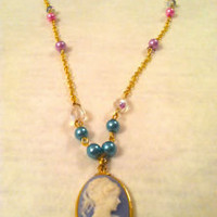 Blue Vintage Antique Gold CAMEO Pendant Necklace with Crystals and Pearl Kawaii | eBay