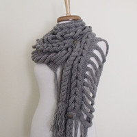 FREE SHIPPING-Dark Grey  Rapunzel Scarf-- Ready for shipping