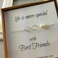 Set Of 2 Infinity Bracelet, Friendship Bracelet, Sterling Silver, Infinity Pearl Bracelet, Best Friends Gift, Birthday Gift, Christmas Gift