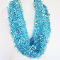 Blue Infinity Wool Scarf, Loop Scarf, Cowl, Christmas Gift