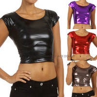 Liquid Crop Top Metallic Tank High Waist Belly Shirt 80s Dance Apparel S M L