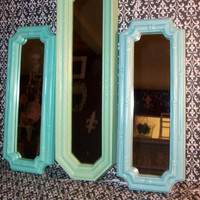 3 Vintage Beach Themed Mirrors Sea Foam Green, Robin's Egg Blue & Surf Blue