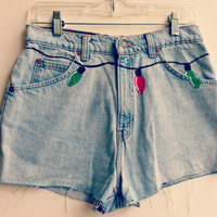 Christmas Lights Shorts High Waisted Custom Made Shorts Hipster Tumblr Made to Order