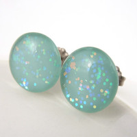 Mint Glitter Stud Earrings, Hypoallergenic Titanium Posts