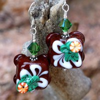 Chocolate Christmas Handmade Earrings Lampwork Candy Swarovski OOAK